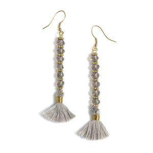 NWT! Rylee Grey Fringe Boho Beaded Drop Earrings